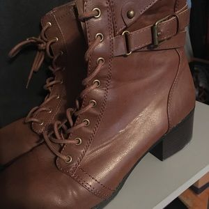 Shoes - Brown leather heeled combat boots